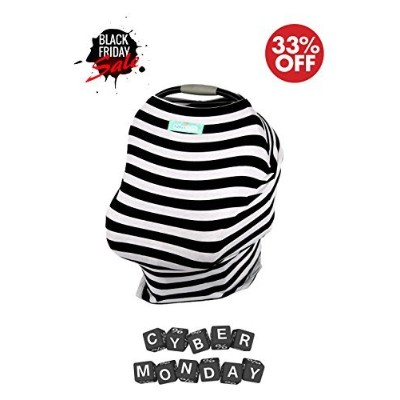 Stretchy Baby & Infant Car Seat Cover. 5-in-1 Multi-Use Canopy, Breastfeeding & Shopping Cart Cover...