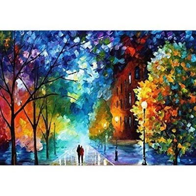 (Romantic Street Lovers Walks In the Street) - Easy DIY Paint by Number Sets with Brushes & Paints...