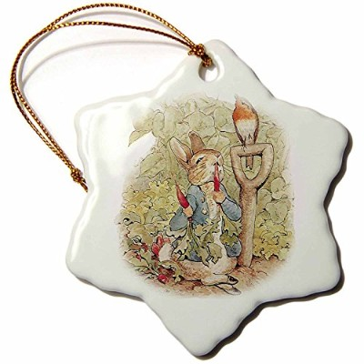 3dローズPSヴィンテージ – Peter Rabbit in the Garden – ビンテージアート – Ornaments 3 inch Snowflake Porcelain...