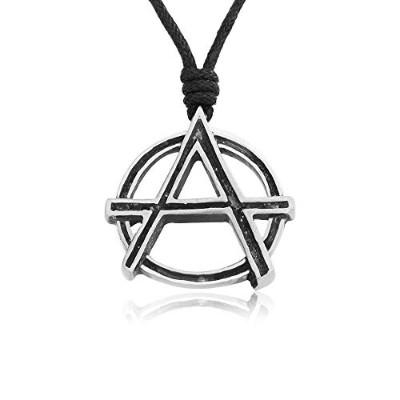 Namaste Jewelers Circle-A Anarchy Anarchist シンボルペンダントネックレス ピューター ジュエリー