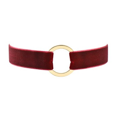 (Round) - Wine Red Velvet Belt Gothic Choker Necklace 12-38cm