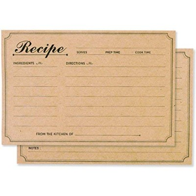48 Pack Recipe Cards - Size 4x6 - Double Sided Thick Easy-Write Card Stock - Kraft Brown Card for...
