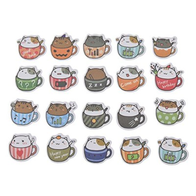 (Cat in Cup 20pcs App) - Constellation Sticker Heart Hamster Diary Scrapbooking Label Cat Bird Tag...
