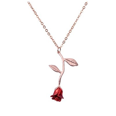 Seria Jewelry Mothers Day Gifts Rose Pendant Floral Pendant Necklace (Red&Rose)