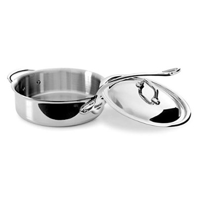 Mauviel Made In France M'Cook 5 Ply Stainless Steel 5211.25 3.4 Quart Saute Pan with Lid, Cast...