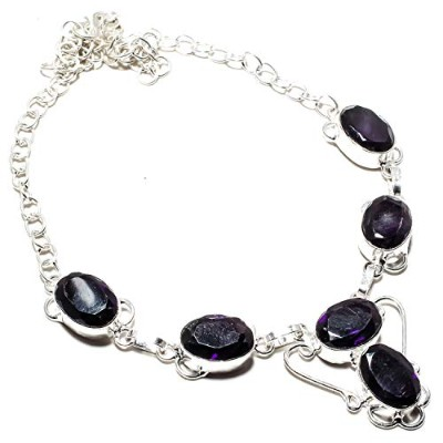 Wonderful African Amethyst Gemstone Necklace Handmade 925 Sterling Silver Plated Jewelry -Indian...
