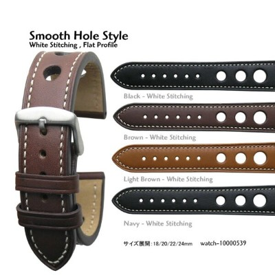 Smooth Hole Style・18mm 20mm 22mm 24mm・White Stitching Flat Profile Italian Calf Leather and...