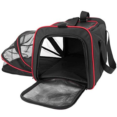 FrontPet Expandable Airline Approved Pet Carrier with Padded Fleece Insert, Spacious Comfortable...