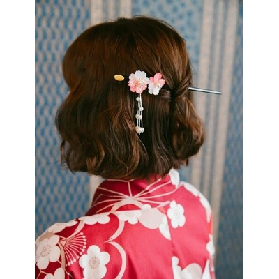 Ruby's Collection 【Ruby's Collection 】和風桜かんざし ルビーコレクション 帽子/ヘア小物 バレッタ/ヘアクリップ ピンク レッド