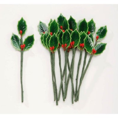 パッケージの48ラッカー塗装Holly Leaves with Bright Red Berry Stems for Holiday Crafts and Floralプロジェクト