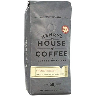"""Henry's House Of Coffee """"French Roast"""" Dark Roasted Whole Bean Coffee - 1 Pound Bag"""