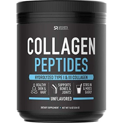 Sports Research Premium Collagen Peptides 16oz; Promoting Healthy Skin, Hair, and Joints; Unflavored...