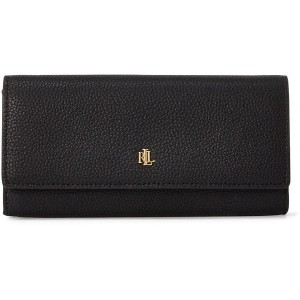 レディース LAUREN RALPH LAUREN LEATHER FLAP CONTINENTAL WALLET 財布  ブラック
