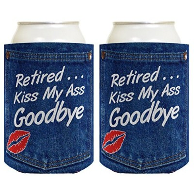 (2, Denim) - Retirement Gift Funny Beer Coolie Retired Kiss My Ass Goodbye Retirement Party Gag...