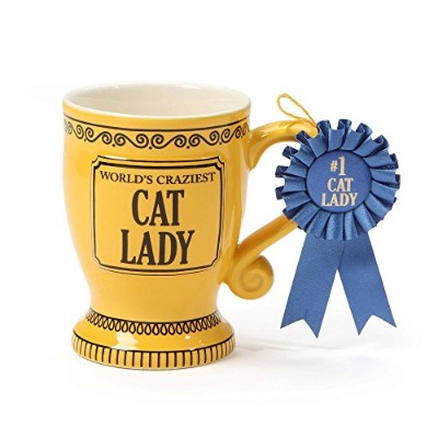 """Our Name is Mud""""World's Craziest Cat Lady"""" ブルーリボントロフィーストーンウェア コーヒーマグ 16オンス"""
