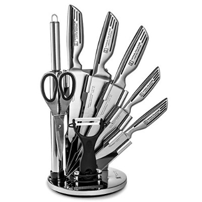 (Silver Signature) - Imperial Collection 9 Piece Stainless Steel Knife Set with Stainless Steel &...