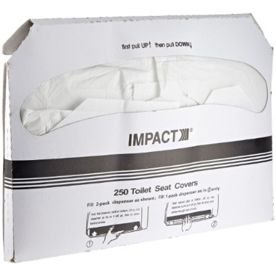 Impact 1111 Toilet Seat Cover, Box Size 10-1/2 Height x 15 Width x 1 Depth, White (Case of 1000) by...