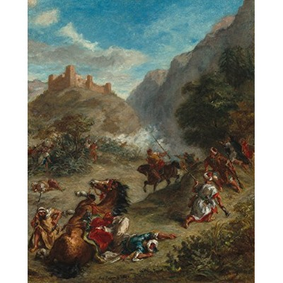 Arabs Skirmishing in the mountains – 傑作クラシック – アーティスト: Eugene Delacroix C。1863 9 x 12 Art Print...