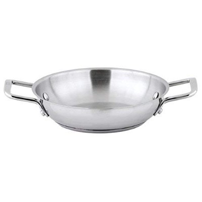 Winco SSOP-8, 20cm Dia Try-Ply Stainless Steel Omelette Pan with 2 Handles, French Omelette Pan,...
