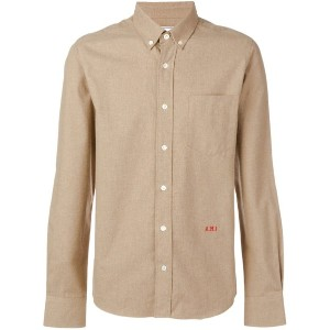 Ami Paris Slim Fit Button-down Shirt A.m.i Front Embroidery - ニュートラル