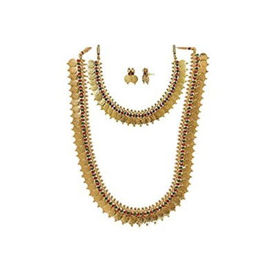 YouBella Combo of Red Green Long Traditional Maharani Coin Necklace Set for Women