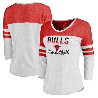 Fanatics Branded Chicago Bulls Women's White/Red Plus Size Free Line Color Block 3/4-Sleeve Tri...