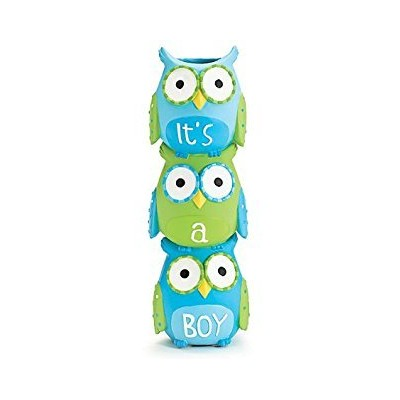 It's A Boy Blue Owl Stacked Vase for Baby Nursery Decor or Baby Shower by Burton & Burton