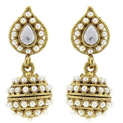 Tradisyon Bollywood Celebrity Inspired Vogue White Jhumki By Kaizer