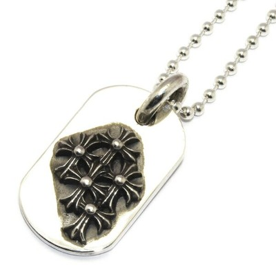 CHROME HEARTS(クロムハーツ) レイズドセメタリードッグタグスモール【チェーン付】 Raised Cemetery DogTag Small l chromehearts 正規品...