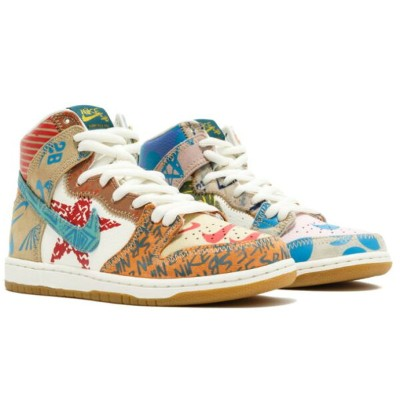 "Thomas Campbell x Nike SB Dunk High premium ""What The"" メンズ/キッズ/レディース Ice Jade/Circuit Orange-Sail..."