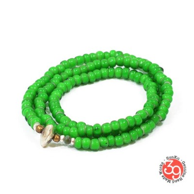 Sunku/39/サンクLTD-010 White Heart Beads Necklace & Bracelet Green アンティークビーズブレスレットNecklace/ネックレスSilver9...