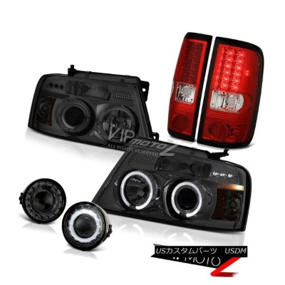 ヘッドライト 06 07 08 FORD F150 LOBO Truck TINTED Angel Eye LED Headlamp RED Tail Lights Fog 06 07...