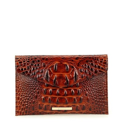 ブランミン レディース クラッチバッグ バッグ Melbourne Collection Crocodile-Embossed Envelope Clutch Pecan