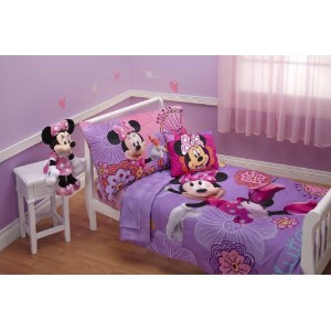 ミッキーマウス ミニー 寝具4点セット Disney 4 Piece Minnie's Fluttery Friends Toddler Bedding Set, Lavender