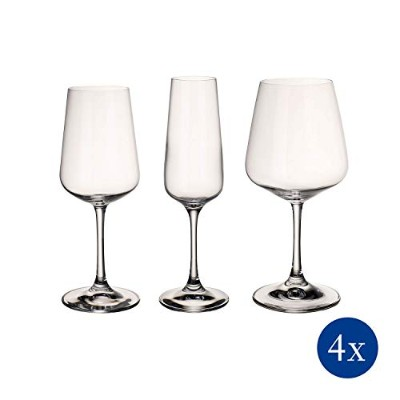 Ovid Wine Glass Box Set of 12 by Villeroy & Boch - Dishwasher Safe - Made in Germany - Clear 100%...