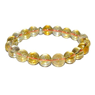 Pyramid Tatva Bracelet - Citrine 10mm Bead Natural Healings Crystal Chakra Balancing