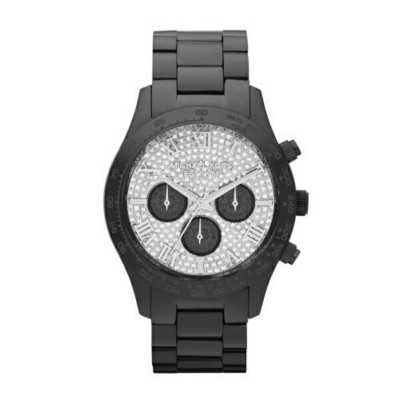マイケルコース Michael Kors レディース 腕時計 時計 Michael Kors Black Layton Chronograph Glitz Watch