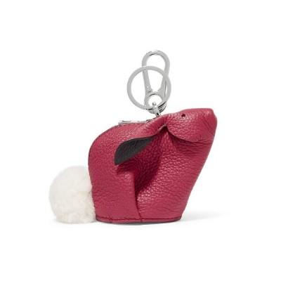 ロエベ Loewe レディース キーホルダー【Bunny shearling-trimmed textured-leather bag charm】