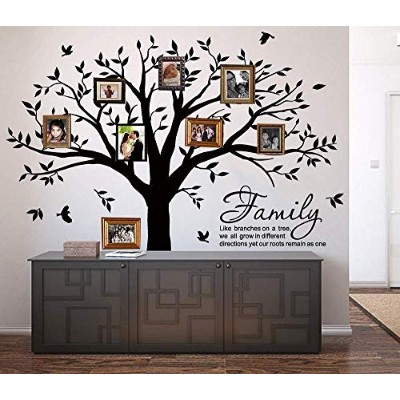 (Black) - Family Tree Wall Decal Quote- Family Like Branches On A Tree Lettering Tree Wall Sticker...
