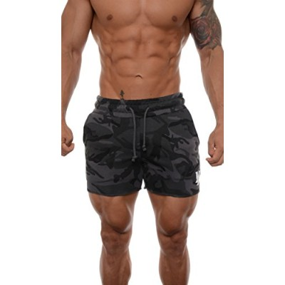 (XX-Large, Camo Black) - YoungLA Men's French Terry Solid Bodybuilding Gym Running Workout Shorts