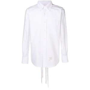 Thom Browne Straight Fit Lace-up Oxford Shirt - ホワイト