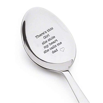 There Is This Girl。彼女はStole My Heart。彼女はCalls Me dad- Engraved spoon- Coffer lover- EngravedシルバーWare...