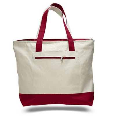 (Set of 1, Red) - Reusable Zipper Shopping Tote Bag Heavy Canvas Two Tone, Red, Set of 1