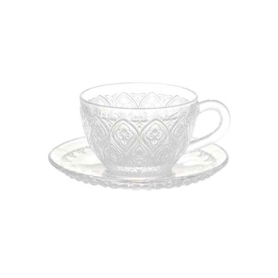 GLASS CUP & SAUCER ''FIORE'' CLEAR ダルトン カップ&ソーサー ガラス マグカップ ガラスマグ アンティーク