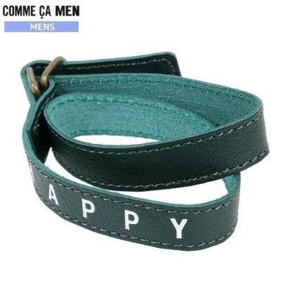 ★SALE64%OFF【COMME CA MEN】コムサメン 日本製 本革 ボトル付き HAPPY レザーブレスレット 緑『19/9/4』250919 20.03sage