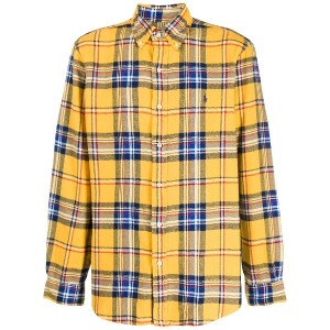 Polo Ralph Lauren checked embroidered-logo shirt - イエロー