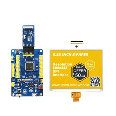 GooDisplay 5.83 inch Color ePaper 電子ペーパー スクリーンE-Paper データ変換開発キットE-Paper Screen with Demo Kit Board...