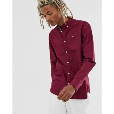 トミー ジーンズ Tommy Jeans メンズ シャツ トップス【twill shirt in burgundy with small icon logo】Burgundy
