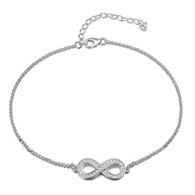 Gorgeous elegant Bow ANKLET with DIAMANTES, Sterling Silver Ankle bracelet will include pretty gift...