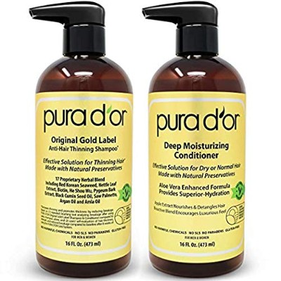 PURA D'OR Original Gold Label Shampoo & Conditioner for Anti-Thinning - Clinically Tested - Argan...